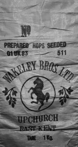 Wakeley Bros. hop sack. Available to see at the history corner in The Oas